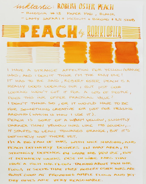 Robert Oster Peach ink reveiw