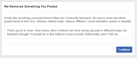 Facebook Censors Question about Muslim Child Abuse