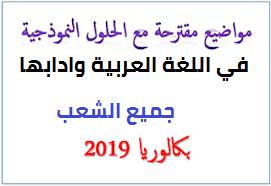 مواضيع مقترحة في اللغة العربية بكالوريا 2019