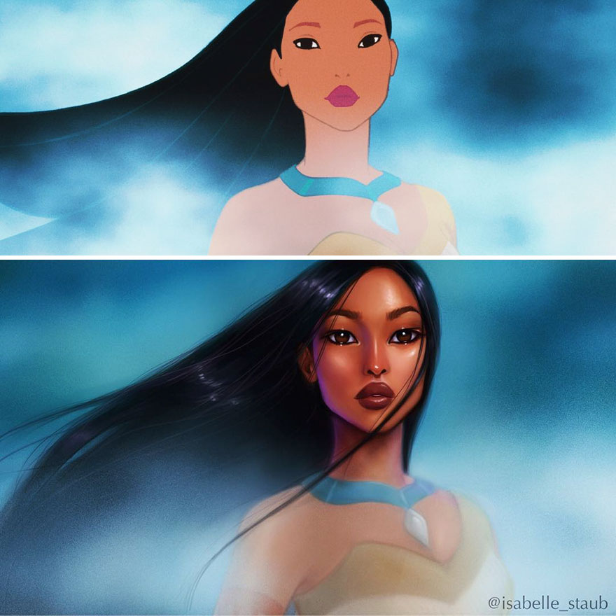#1 Pocahontas, Pocahontas - llustrator Repaints Disney Princesses In Her Unique Style