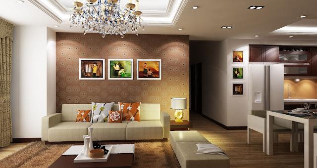 phòng khách chung cư palm garden