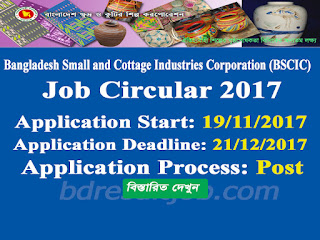Bangladesh Small and Cottage Industries Corporation (BSCIC) Job Circular 2017