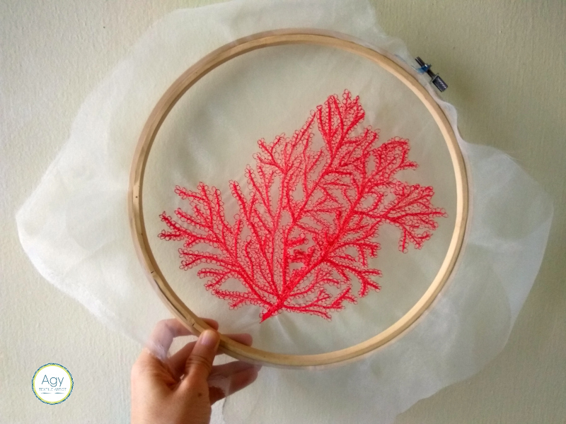 Free motion embroidery - stitching coral