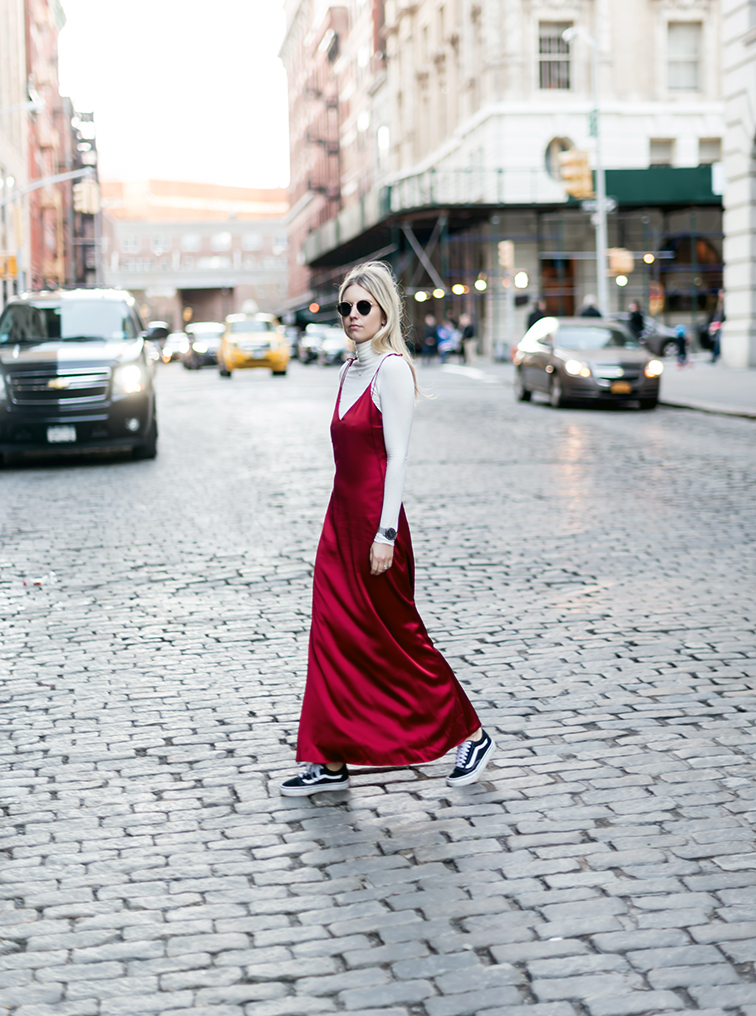 heleneisfor, reformation silk dress, reformation turtleneck, classic vans, vansgirls, ray-ban lennon sunglasses, new york city tribeca