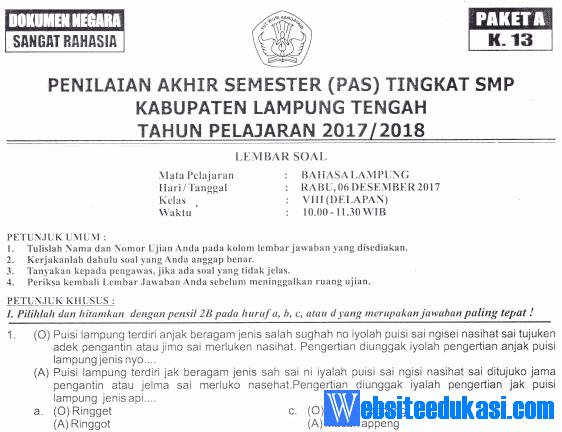 Naskah Soal Pas Uas Bahasa Lampung Kelas 8 K13 Tahun 2018 2019 Websiteedukasi Com