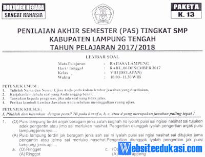 Naskah Soal PAS/ UAS Bahasa Lampung Kelas 8 K13 Tahun 2018/2019