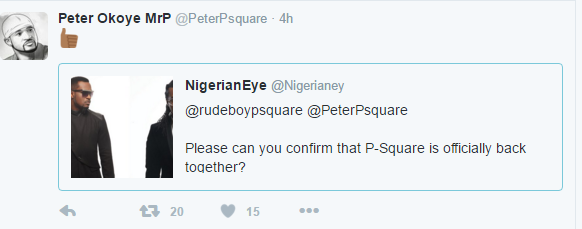 P square Officially back as confirmed by peter Okoye (tweets)