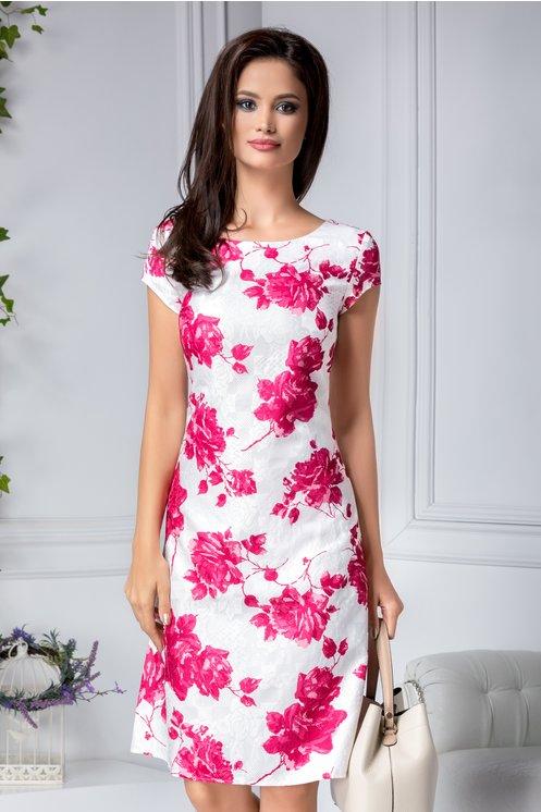 Rochie alba Tiana din bumbac cu imprimeu floral roz pentru o tinuta lejera si feminina