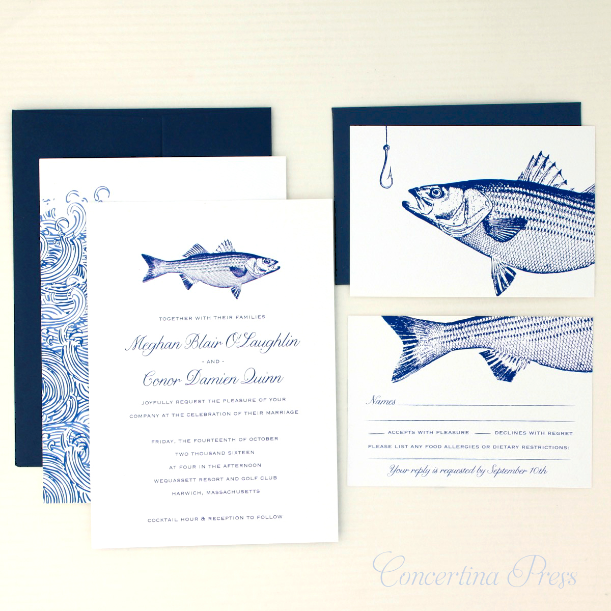 Striped Bass Wedding Invitation set with RSVP from Concertina Press