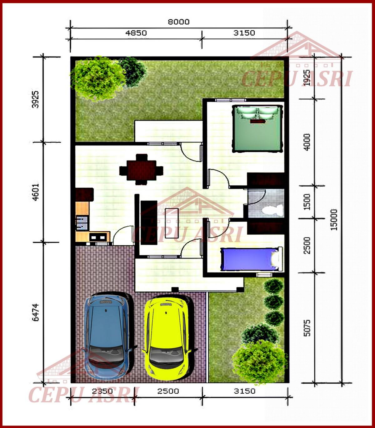 contoh gambar denah rumah type 45 1