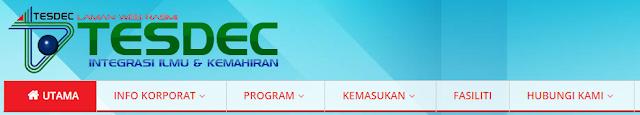 Rasmi - Jawatan Kosong (TESDEC) Pusat Pembangunan Kemahiran Negeri Terengganu 2019