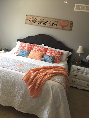 #millsnewhouse, master bedroom, wall art, painted sign, string art, pillows, bed design, crochet