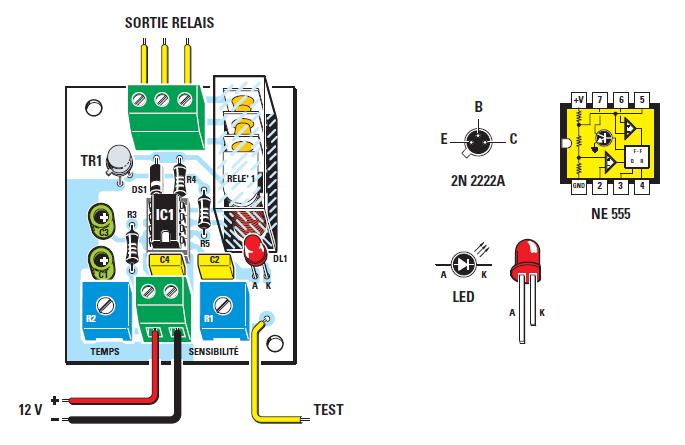 sch ma et realisation circuit de declenchement au toucher a base de ne555 detecteur de. Black Bedroom Furniture Sets. Home Design Ideas