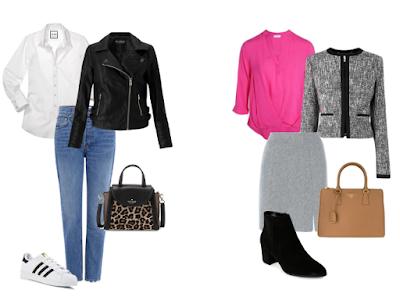 Look casual: jeans, ténis brancos, camisa branca e blusão biker preto | Look profissional: saia cinzenta, botins pretos com salto pequeno, blusa rosa e casaco curto tweed cinzento