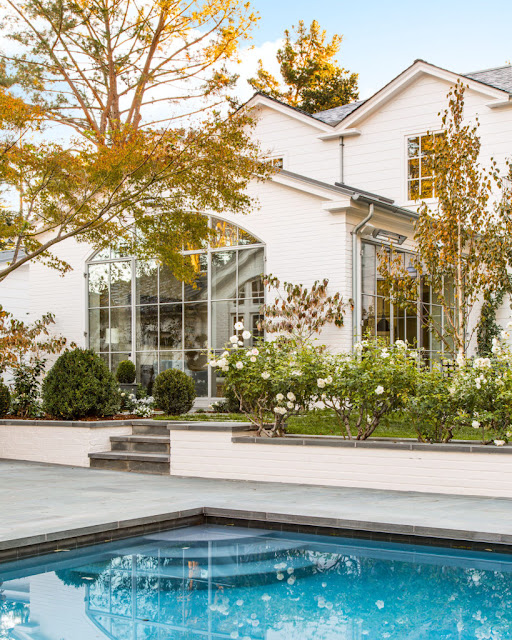 image result for traditional modern farmhouse exterior pool California renovation Giannetti