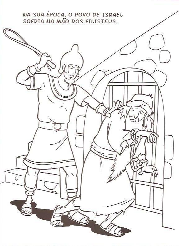 Historia Biblica De Sansao E Dalila Para Colorir Pintar Imprimir