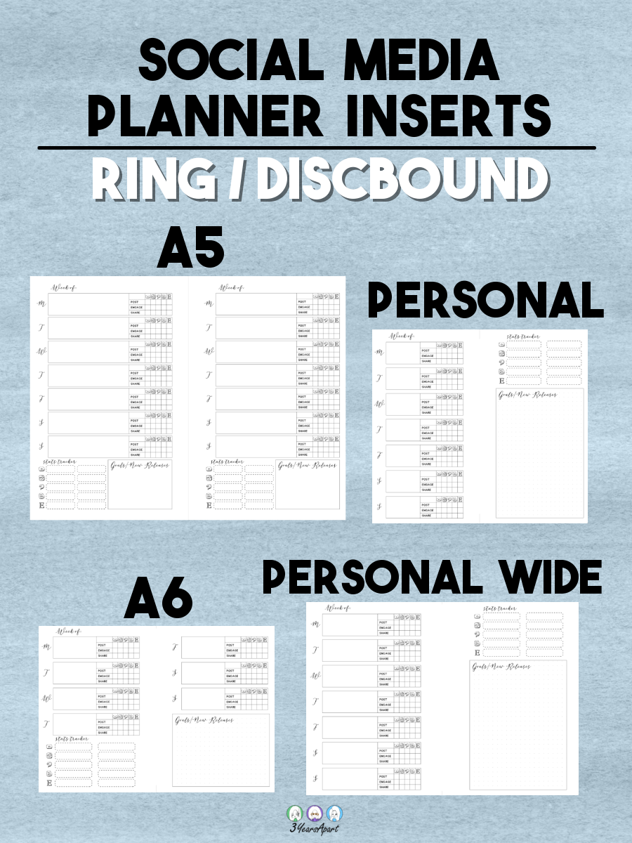 photograph about Free Printable B6 Inserts named Social Media Planner Inserts No cost Printable for Vacationers
