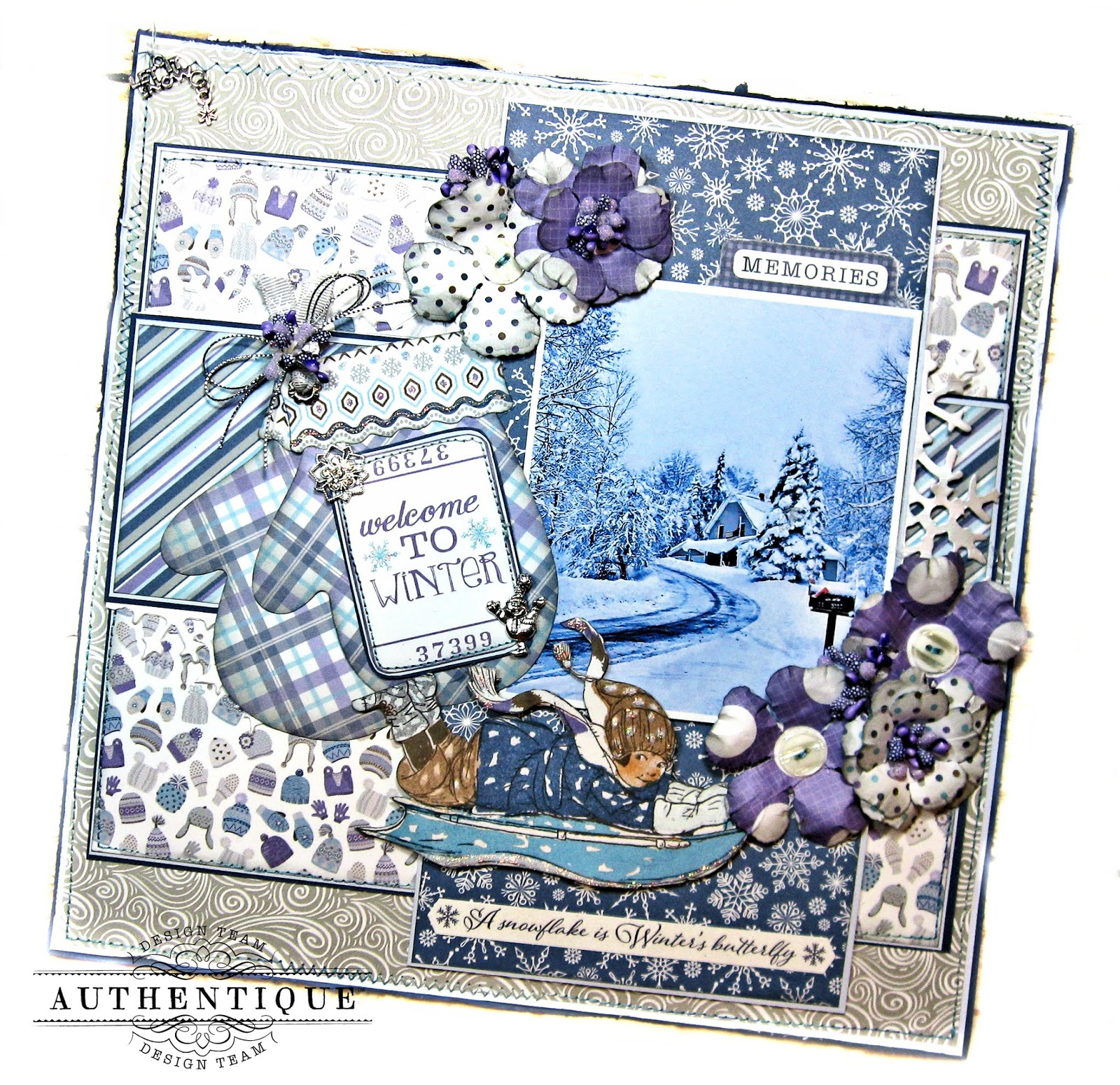 Frosted Memories Winter Scrapbook Page Kit