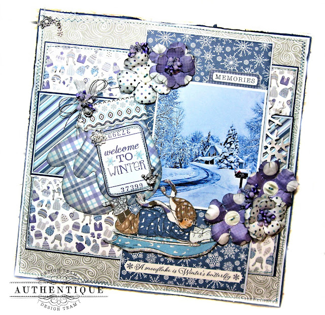 Authentique Frosted Memories Winter Layout by Kathy Clement Photo  03