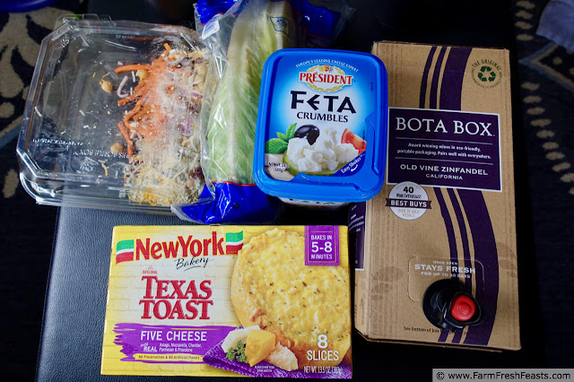 photo of additional ingredients you can use to enhance your Instant Pot spaghetti and meatballs meal (red wine, garlic bread, feta cheese)