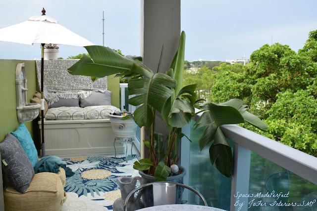 Outdoor area rugs, Sunbrella, patio cushions, throws, pillows, fiberglass fountains,  By: JoFer Interiors;