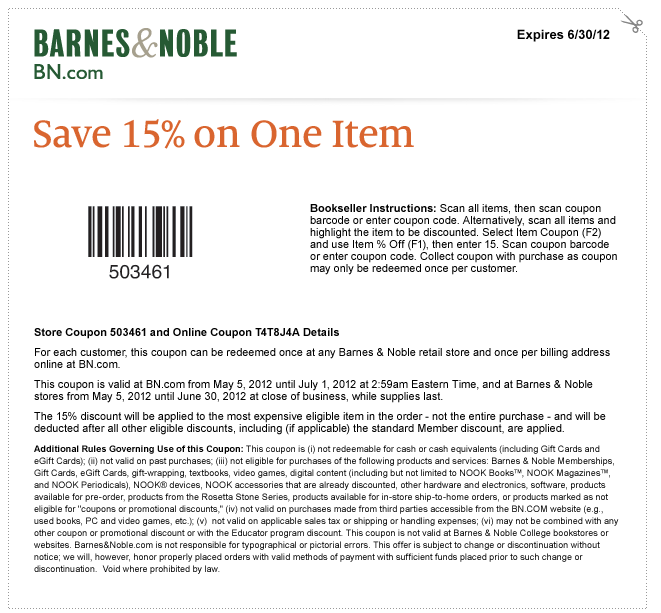 coupon barnes and noble in store printable