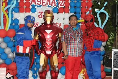 Kostum badut ultah karakter Captain America, iron man, & spiderman, MC nunuz, MC ultah
