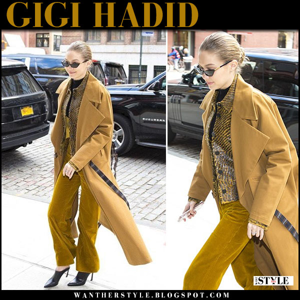 Gigi Hadid in mustard coat, mustard trousers and black leather mules stuart weitzman camila model street style february 2