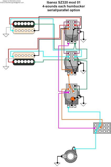 Hermetico Guitar: Wiring Diagram: Ibanez SZ320 mod 01