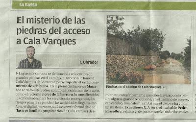 Camino cala Varques. Diario de Mallorca 19.02.2018   -BTTersMallorca.