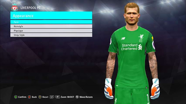 Loris Karius Face with Tattoo PES 2017