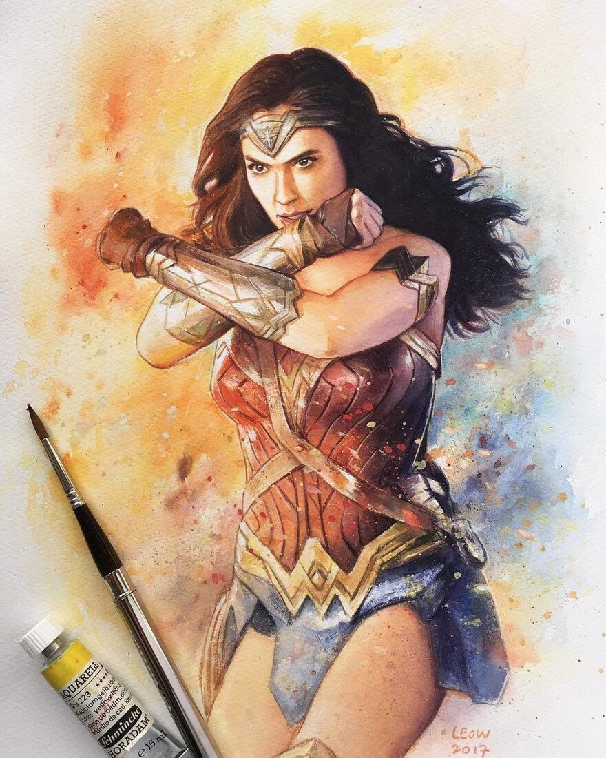 06-Wonder-Woman-Gal-Gadot-Leow-Fantastic-Mix-of-Watercolor-Paintings-www-designstack-co