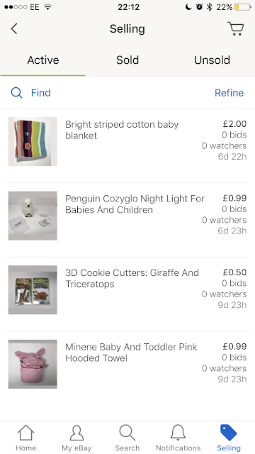 Baby and children's items listed on eBay to sell, showing as a screenshot of the eBay app