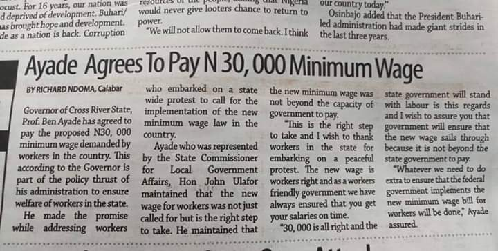 Governor Ayade Agrees To Pay N 30, 000 Minimum Wage