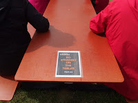A sign that made me giggle - no standing on the tables