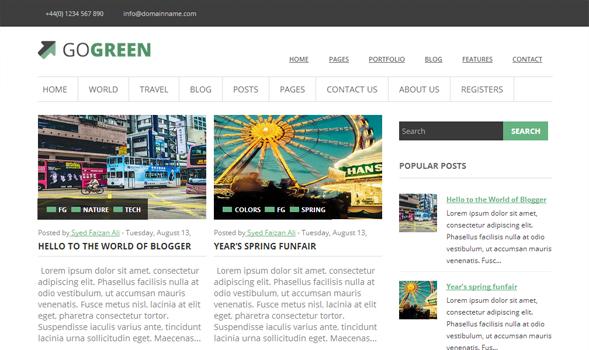 GoGreen blogger template screenshot