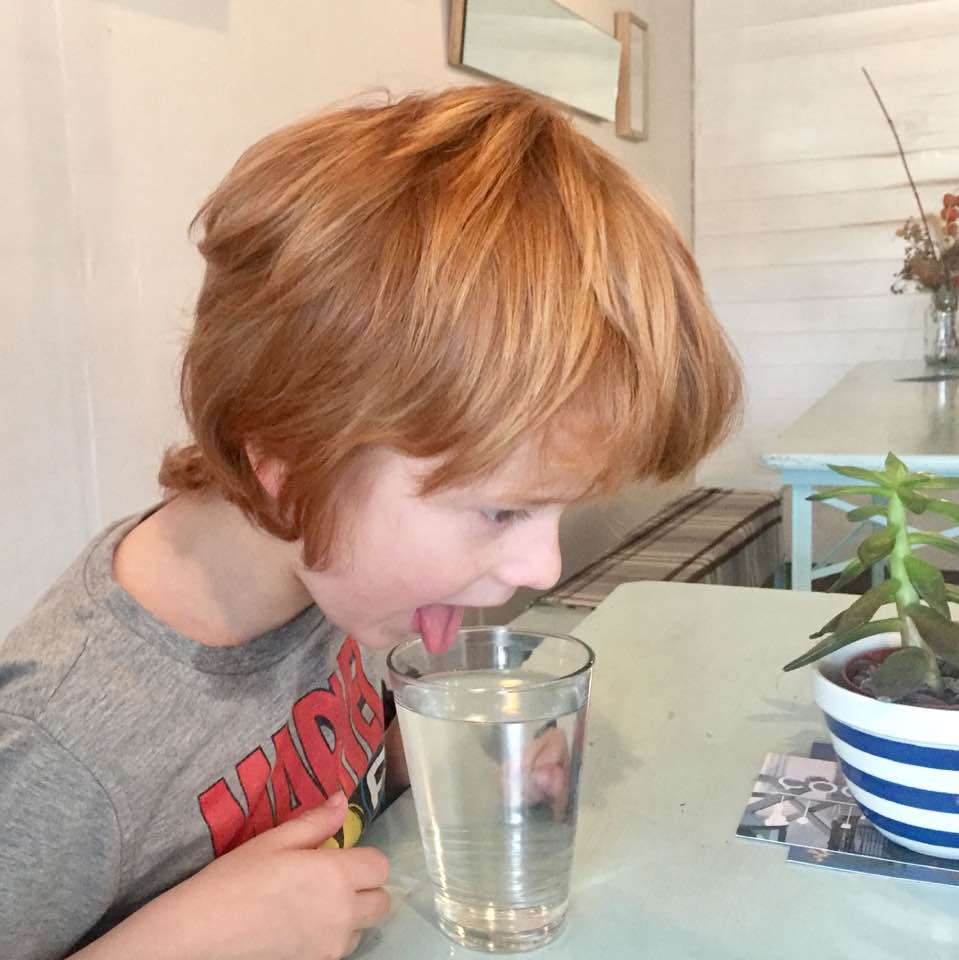 The Cook House Ouseburn | Breakfast with Kids - Jack drinking water like a dog