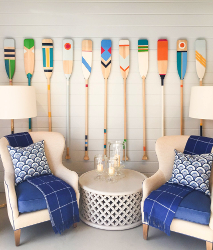 Painted Wood Oar Paddle Decor Ideas Art Oars