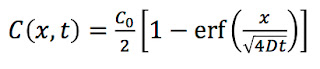 A solution to the diffusion equation containing an error function.