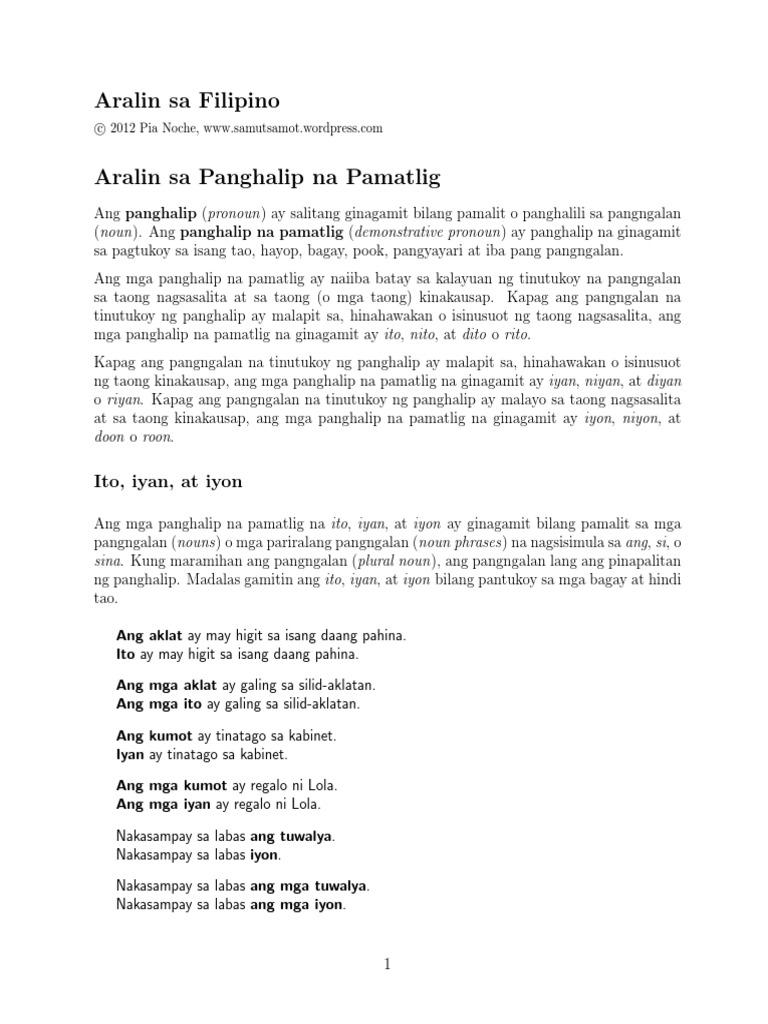 Panghalip Pamatlig Worksheets