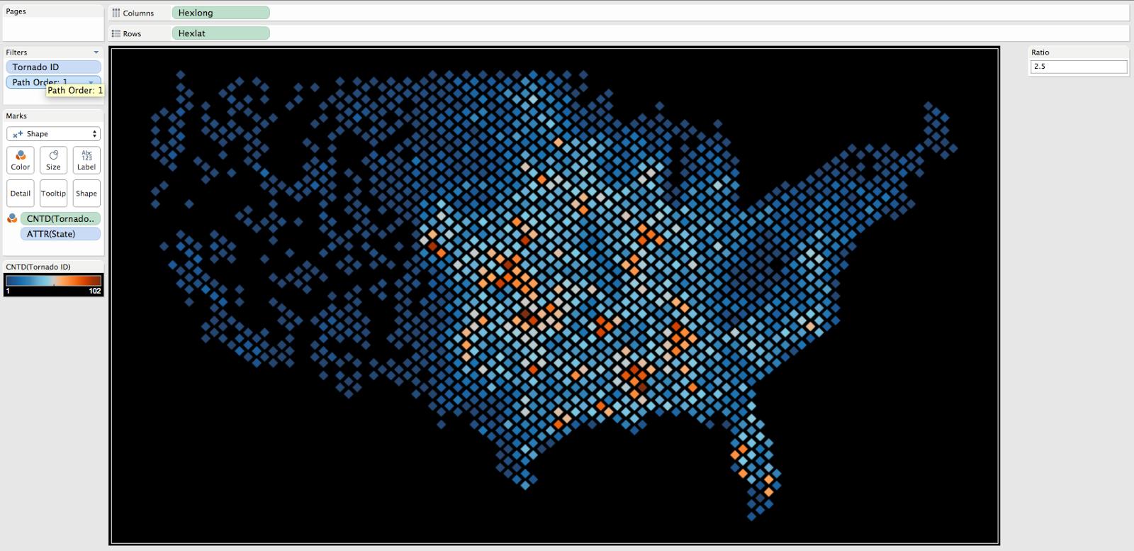 How To Density Maps Using Hexbins In Tableau