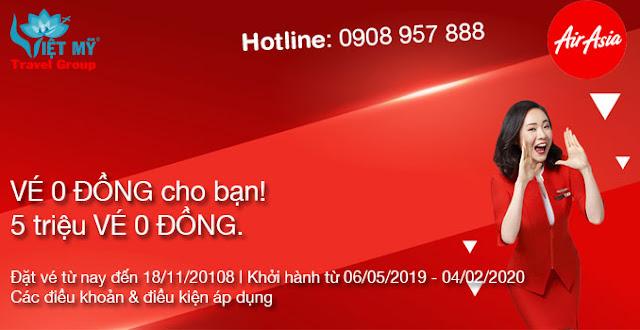 Siêu khuyến mãi Air Asia mở bán vé 0 đồng