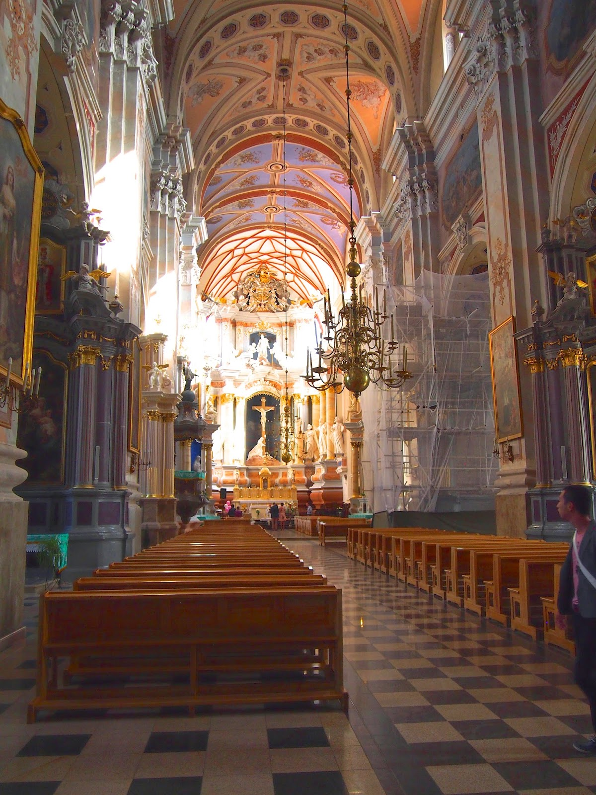 The detailed interior and bright ceilings in the Cathedral of Sts. Peter and Paul