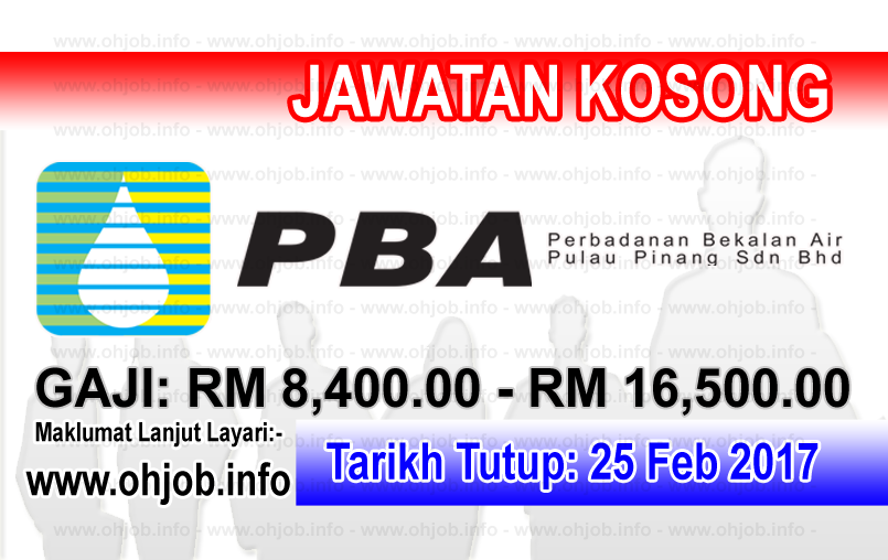 Jawatan Kerja Kosong Perbadanan Bekalan Air Pulau Pinang (PBAPP) logo www.ohjob.info februari 2017