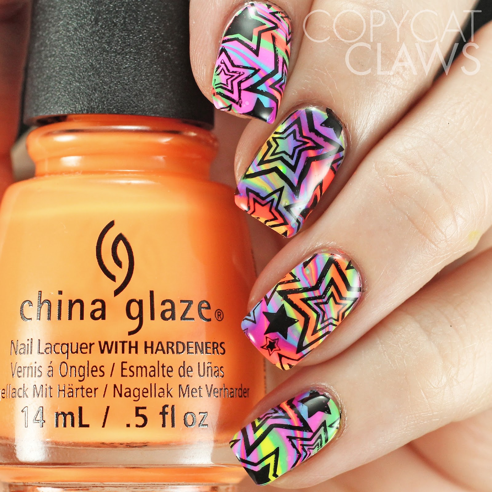 Copycat Claws: The Digit-al Dozen does Neon: Day 2 Water Marble ...