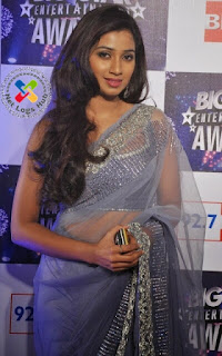 Indian Hot Singer Shreya Ghoshal Long Hair Hip Navel Stills In Transparent Designer Blue Saree - NetLogsHub