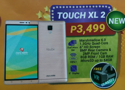 Cherry Mobile Touch XL 2, 6-inch Quad Core Marshmallow with Free VR Glasses for Php3,499