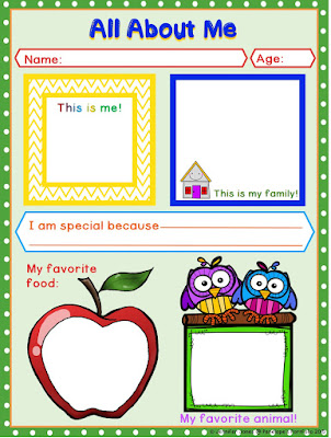 All About Me Printable in Color