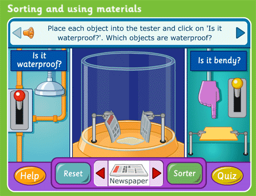 Game about how materials respond to liquids and forces