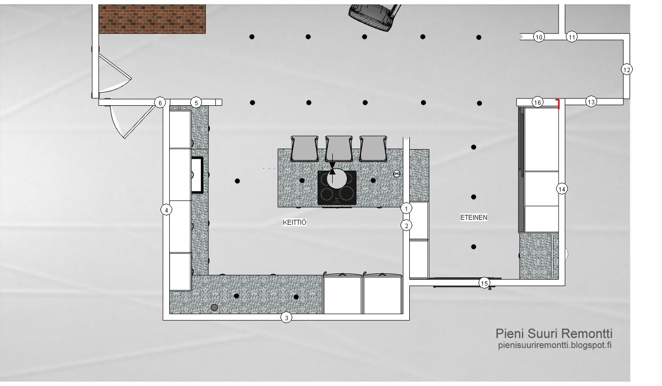 Pieni Suuri Remontti Keittiön kalustesuunnitelma